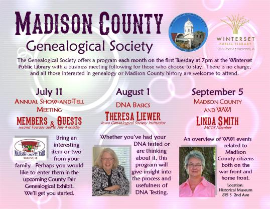 2017 genealogy poster July-Sept